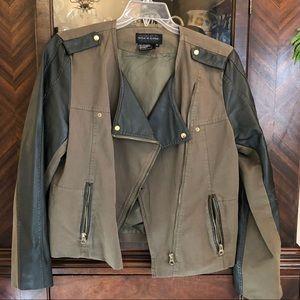 Khaki Green Cotton/leather Jacket